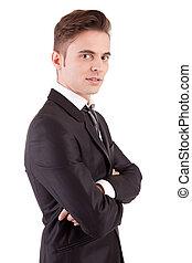 poser, jeune, homme affaires