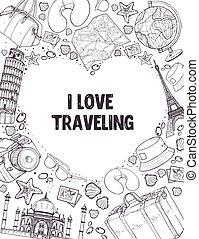 poser, liefde, het reizen