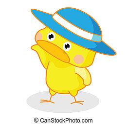poser, mignon, poussins, chapeau, dessin animé