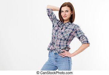 poser, mode, heureux, -, arrière-plan., beau, brunette, style, désinvolte, isolé, girl, jeune, adolescent, hipster., femme, gens, vêtements, concept, blanc