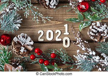 poser, nouveau, texte, branches, sommet, plat, composition., vieux, 2021, vue, bois, noël, sapin, décorations, couronne, année, fond foncé, lettres
