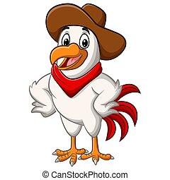 poser, poulet, cow-boy, dessin animé, heureux
