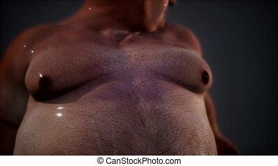 poser, studio, gros homme