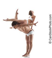 poser, studio, jeune, gymnastes, séduisant