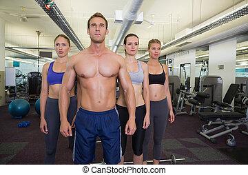 poser, togeth, fitness, sérieux, classe