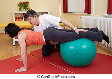 poses, мяч, practicing, взрослый, упражнение