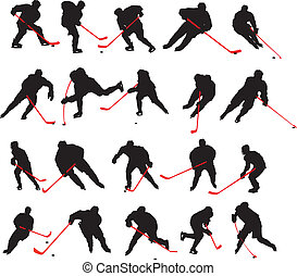 poses, 20, détail, hockey glace