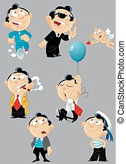 poses and images of cartoon men - The illustration shows a...