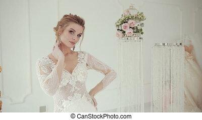 poses, around., rotations, appareil photo, blanc, mariée, robe, mariage, blond, jeune