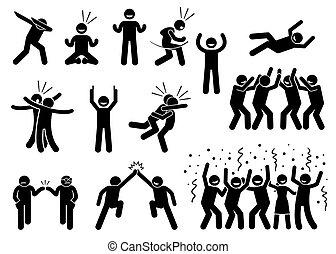 poses, célébration, gestures.