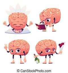 poses, différent, caractère, mignon, cerveau