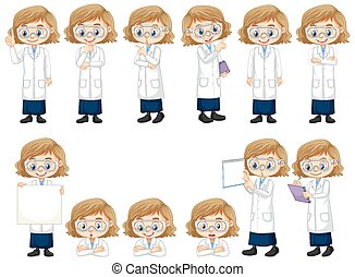 poses, différent, girl, robe, science