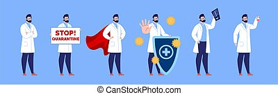 poses, docteur., gestures., mâle, caractère, divers, docteur, ensemble, création, isolated.