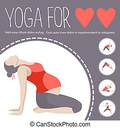 poses., donna, varianti, exercise., incinta