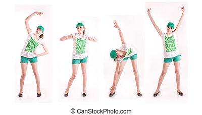 poses, femme, gymnastique