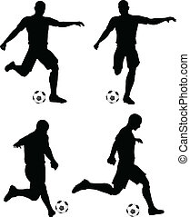 poses of soccer players silhouettes in run and strike...