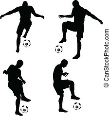 poses of soccer players silhouettes in dribble position -...