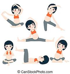 poses, pregnant, femme asiatique, yoga