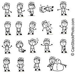 poses, retro, conceitos, vetorial, ilustrações, personagem, -, carpinteiro, diferente