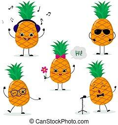 poses, style., diferente, jogo, abacaxis, cinco, caricatura, smiley