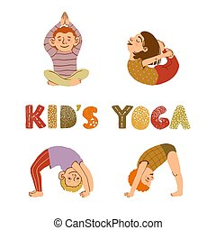 poses, yoga, enfants, différent, illustrations