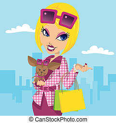 Blonde posh girl with chihuahua carrying shopping bags and wearing stylish pink fashion clothes
