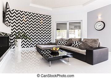 Posh living room in black and white