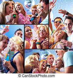 Collage of joyous guys and girls having fun at party