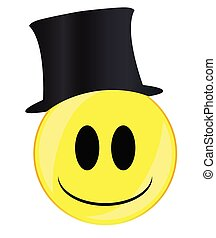 A toff in a top hat smile face button isolated on a white background