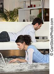 posição, confortável