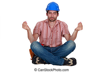 posição, construtor, ioga, sentando