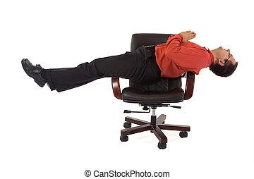 posição, ioga, escritório, relaxamento