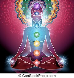 posição lotus, chakra, ioga