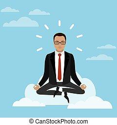 posição lotus, homem negócios, nuvem, sentando