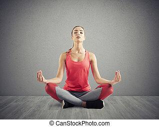 posição, menina, ioga, jovem, relaxante