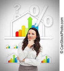 posição mulher, contra, energia, eficiente, casa, gráfico