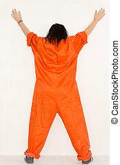 posição mulher, exibindo, dela, laranja, overalls