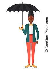 posição mulher, negócio, umbrella.