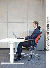 posição, sentando, correto, escrivaninha