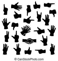 posições, diferente, mãos