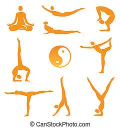 posições, ioga, ícones
