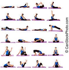 posições, mulher, ioga