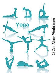 posições, silhuetas, ioga, verde