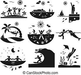 posiadanie, dobry czas, na, przedimek określony przed rzeczownikami, morze