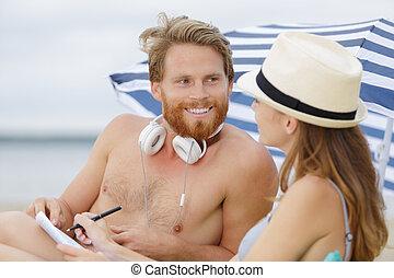 posiadanie, romantyk, morze, szczęśliwy, pogawędka, para