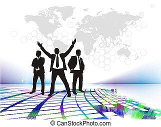 posición, éxito, hombre de negocios, silhouetted