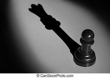 posición, actistic, conversión, oscuridad, peón, marca, reina, ajedrez, sombra, proyector