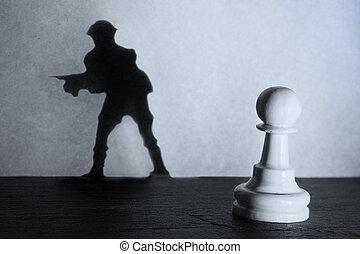 posición, actistic, conversión, oscuridad, peón, marca, soldado, ajedrez, sombra, proyector