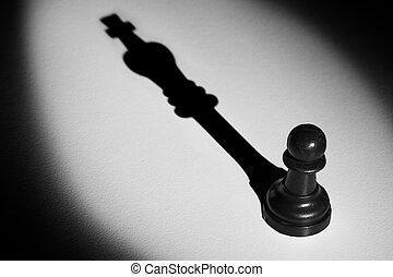 posición, actistic, conversión, oscuridad, peón, rey, marca, ajedrez, sombra, proyector