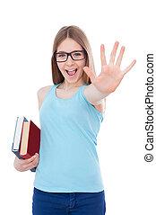 posición, adolescente, el suyo, extensión, aislado, mientras, colegiala, Libros, tenencia, Palma, niña, feliz, blanco, afuera